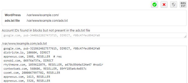 ad inserter ads txt editor