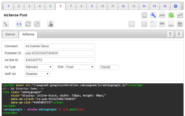 ad inserter adsense code generator
