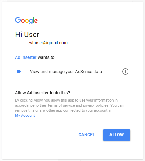 adsense integration authorization