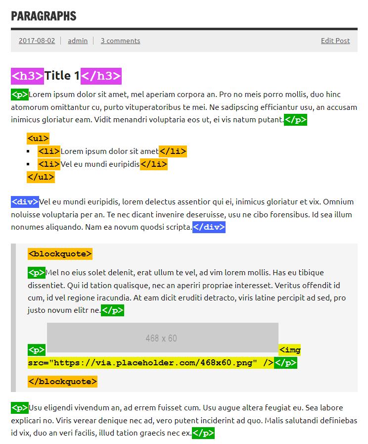 ad inserter debugging html tags