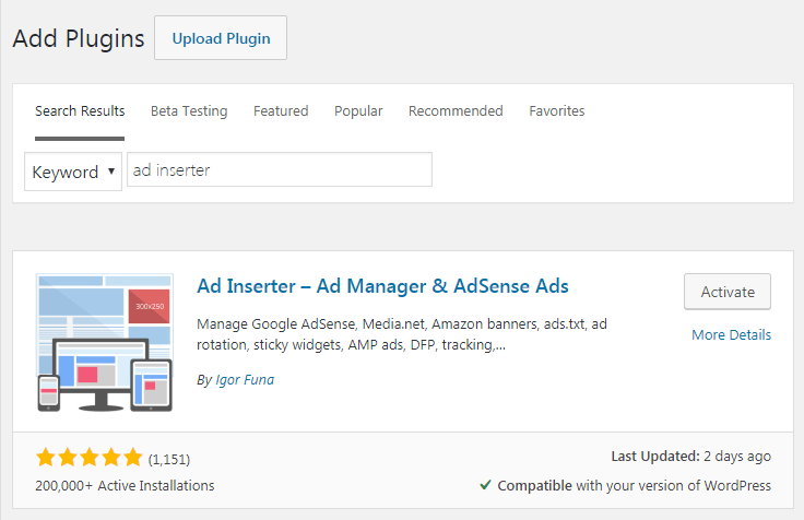 WordPress AdSense plugin