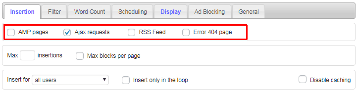 ad inserter insertion page types
