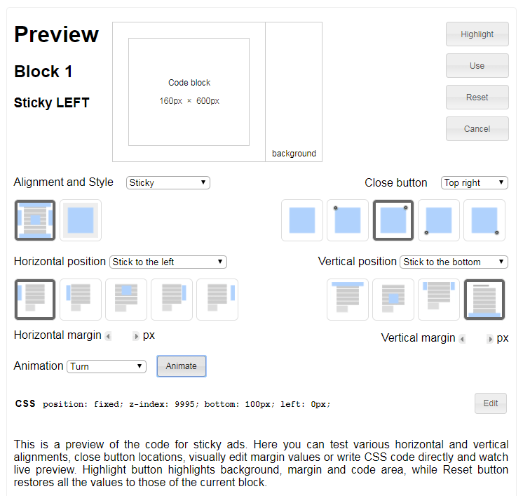 ad inserter sticky preview